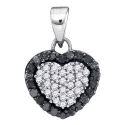 0.33 CTW Black Color Diamond Heart Love Pendant 10KT White Gold - REF-14F9N