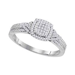 0.20 CTW Diamond Square Cluster Bridal Engagement Ring 10KT White Gold - REF-19H4M