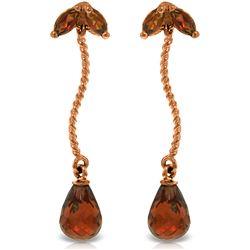 Genuine 3.4 ctw Garnet Earrings Jewelry 14KT Rose Gold - REF-21A6K