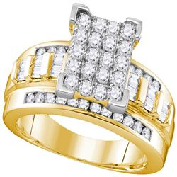 0.98 CTW Diamond Rectangle Cluster Bridal Engagement Ring 10KT Yellow Gold - REF-68Y9X