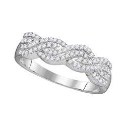 0.25 CTW Diamond Four Row Woven Ring 10KT White Gold - REF-20K9W