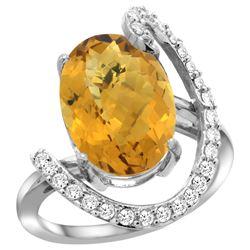 Natural 5.89 ctw Quartz & Diamond Engagement Ring 14K White Gold - REF-89N3G