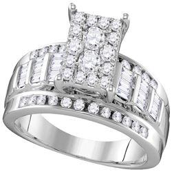 0.92 CTW Diamond Rectangle Cluster Bridal Engagement Ring 10KT White Gold - REF-67M4H