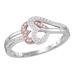 0.15 CTW Diamond Heart Love Ring 10KT Two-tone Gold - REF-18N2F