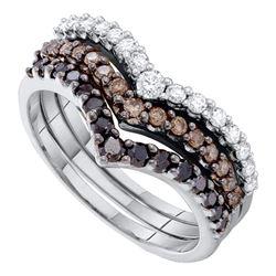 1 CTW Black Color Diamond Chevron Stackable 3-piece Ring 14KT White Gold - REF-79K4W