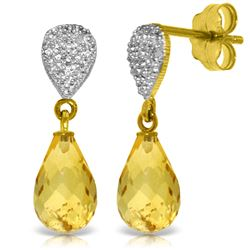 Genuine 4.53 ctw Citrine & Diamond Earrings Jewelry 14KT Yellow Gold - REF-25M6T