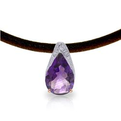 Genuine 6 ctw Amethyst Necklace Jewelry 14KT Rose Gold - REF-30T5A