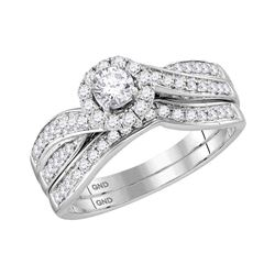0.62 CTW Diamond Bridal Wedding Engagement Ring 14KT White Gold - REF-97M4H