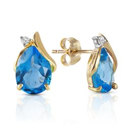 Genuine 5.06 ctw Blue Topaz & Diamond Earrings Jewelry 14KT Yellow Gold - REF-46P7H
