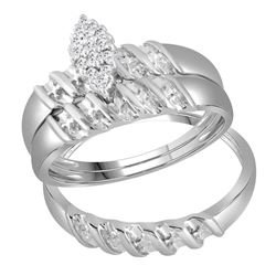 0.11 CTW His & Hers Diamond Cluster Matching Bridal Ring 10KT White Gold - REF-28N4F