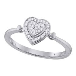 0.10 CTW Diamond Heart Ring 10KT White Gold - REF-12F8N