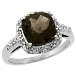 Natural 3.92 ctw Smoky-topaz & Diamond Engagement Ring 14K White Gold - REF-35G2M