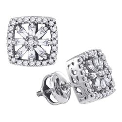 0.34 CTW Diamond Square Stud Earrings 14KT White Gold - REF-37M5H