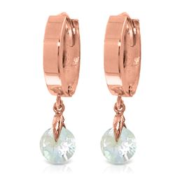 Genuine 1.30 ctw Aquamarine Earrings Jewelry 14KT Rose Gold - REF-29R2P