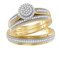 0.26 CTW His & Hers Diamond Cluster Matching Bridal Ring 10KT Yellow Gold - REF-44W9K