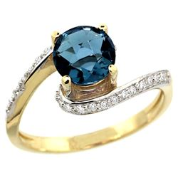 Natural 1.24 ctw london-blue-topaz & Diamond Engagement Ring 14K Yellow Gold - REF-52Z7Y