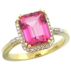 Natural 2.63 ctw Pink-topaz & Diamond Engagement Ring 10K Yellow Gold - REF-32Z7Y