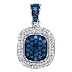 0.50 CTW Blue Color Diamond Double Rectangle Cluster Pendant 10KT White Gold - REF-24H2M