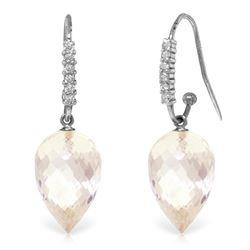 Genuine 24.68 ctw White Topaz & Diamond Earrings Jewelry 14KT White Gold - REF-64W7Y