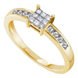 0.26 CTW Princess Diamond Square Cluster Ring 14KT Yellow Gold - REF-34Y4X