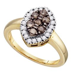 0.50 CTW Cognac-brown Color Cluster Oval-shape Diamond Ring 10KT Yellow Gold - REF-37M5H