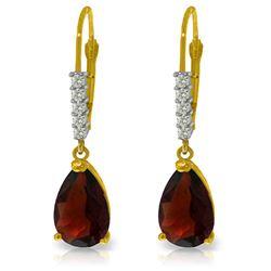 Genuine 3.15 ctw Garnet & Diamond Earrings Jewelry 14KT Yellow Gold - REF-44H3X
