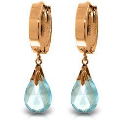 Genuine 6 ctw Blue Topaz Earrings Jewelry 14KT Rose Gold - REF-47K4V