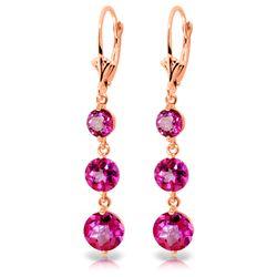 Genuine 7.2 ctw Pink Topaz Earrings Jewelry 14KT Rose Gold - REF-44Y7F