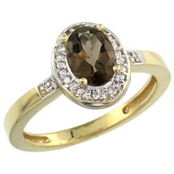 Natural 1.08 ctw Smoky-topaz & Diamond Engagement Ring 14K Yellow Gold - REF-31A3V