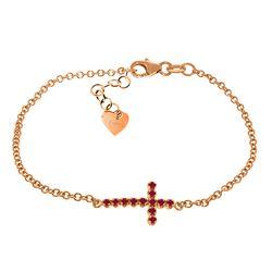 Genuine 0.30 CTW Ruby Bracelet Jewelry 14KT Rose Gold - REF-53K2V