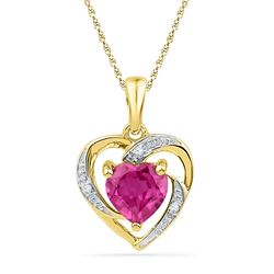 1.01 CTW Created Ruby Heart Love Pendant 10KT Yellow Gold - REF-6Y6X
