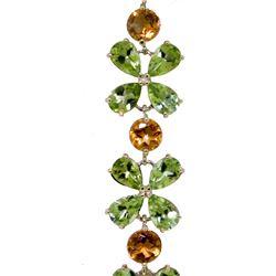 Genuine 20.7 ctw Peridot & Citrine Bracelet Jewelry 14KT White Gold - REF-142R9P