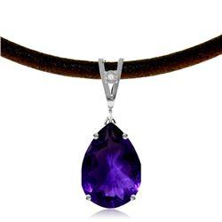 Genuine 6.01 ctw Amethyst & Diamond Necklace Jewelry 14KT White Gold - REF-32X3M