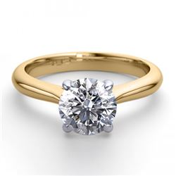14K 2Tone Gold Jewelry 0.91 ctw Natural Diamond Solitaire Ring - REF#243R2M-WJ13202