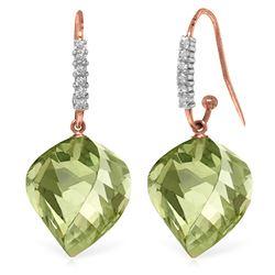 Genuine 26.18 ctw Amethyst & Diamond Earrings Jewelry 14KT Rose Gold - REF-66Z5N