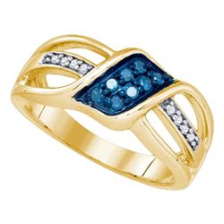 0.20 CTW Blue Color Diamond Crossover Ring 10KT Yellow Gold - REF-25M4H