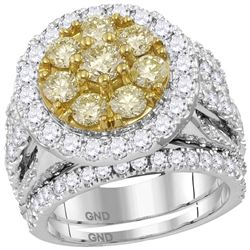 4.07 CTW Yellow Diamond Halo Bridal Wedding Engagement Ring 14KT White Gold - REF-420Y2X