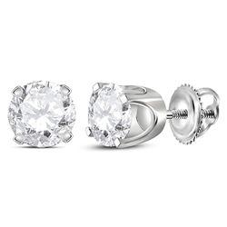1.03 CTW Diamond Solitaire Stud Earrings 14KT White Gold - REF-116M2H