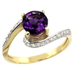 Natural 0.99 ctw amethyst & Diamond Engagement Ring 10K Yellow Gold - REF-42H2W