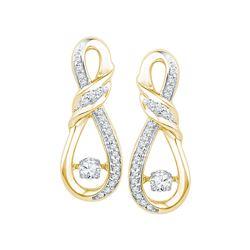 0.33 CTW Diamond Solitaire Ribbon Earrings 10KT Yellow Gold - REF-44W9K