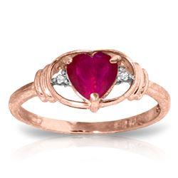 Genuine 1.01 ctw Ruby & Diamond Ring Jewelry 14KT Rose Gold - REF-46P3H