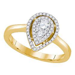 0.39 CTW Diamond Teardrop Cluster Ring 14KT Yellow Gold - REF-67K4W