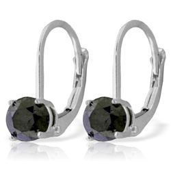 Genuine 1.0 ctw Black Diamond Earrings Jewelry 14KT White Gold - REF-57H6X