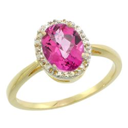 Natural 1.22 ctw Pink-topaz & Diamond Engagement Ring 10K Yellow Gold - REF-20K3R