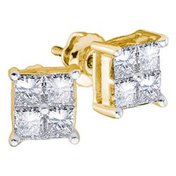 0.25 CTW Princess Diamond Square Cluster Stud Earrings 14KT Yellow Gold - REF-26H3M