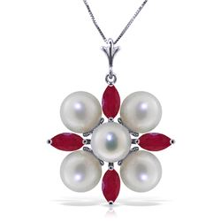 Genuine 6.3 ctw Ruby & Pearl Necklace Jewelry 14KT White Gold - REF-62X6M