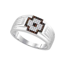 0.25 CTW Mens Red Color Diamond Cross Cluster Ring 10KT White Gold - REF-41N9F