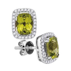 0.95 CTW Cushion Peridot Solitaire Rectangle Earrings 14KT White Gold - REF-64N4F