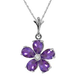 Genuine 2.22 ctw Amethyst & Diamond Necklace Jewelry 14KT White Gold - REF-30T2A