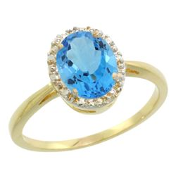 Natural 1.22 ctw Swiss-blue-topaz & Diamond Engagement Ring 14K Yellow Gold - REF-27M2H